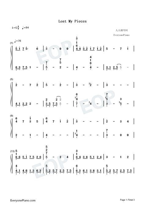 lost my pieces-Toradora BGM Numbered Musical Notation Preview
