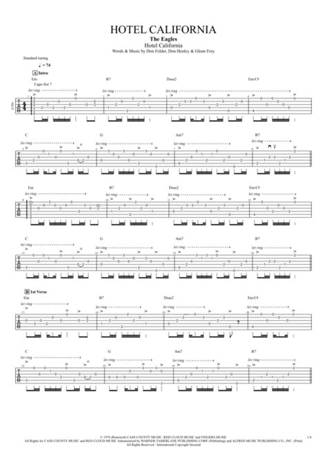 Hotel California by The Eagles - Full Score Guitar Pro Tab