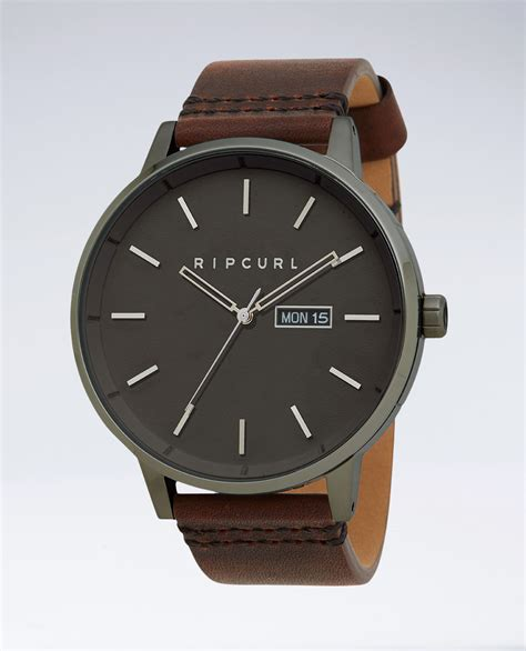 Rip Curl Detroit Gunmetal Leather Watch   Ozmosis   Watches