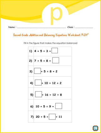 Addition And Balancing Equations For Second Grade PDF