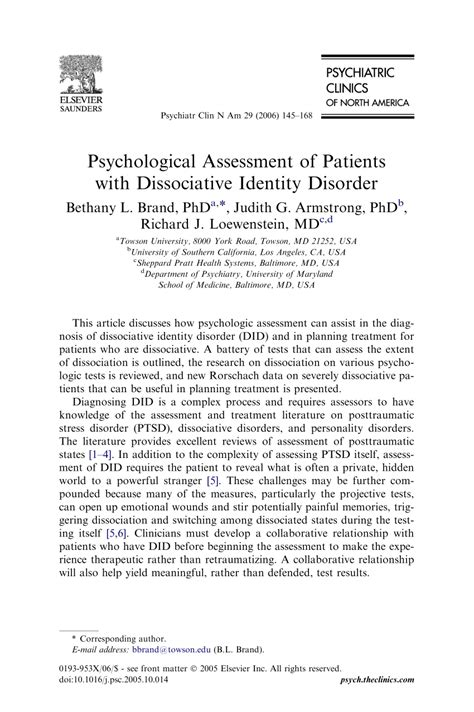 Psychological Assessment of Patients with Dissociative