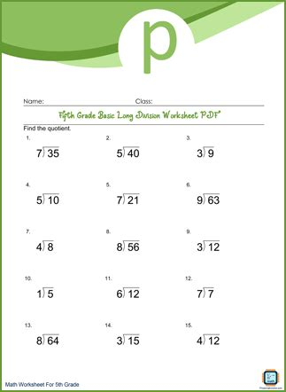 Basic Long Division Grade 5 Worksheet PDF With Answers