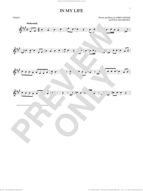 Beatles - In My Life sheet music for violin solo [PDF]