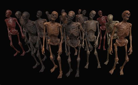 Skeleton Zombies Low-poly 3D model - Free Download   Unity