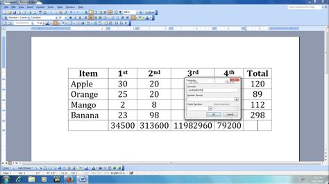 How to Do Calculation in MS Word - YouTube