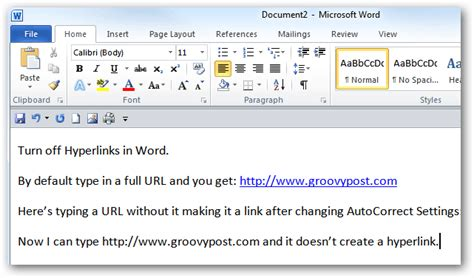 Stop MS Word from Creating a Hyperlink when Typing a URL