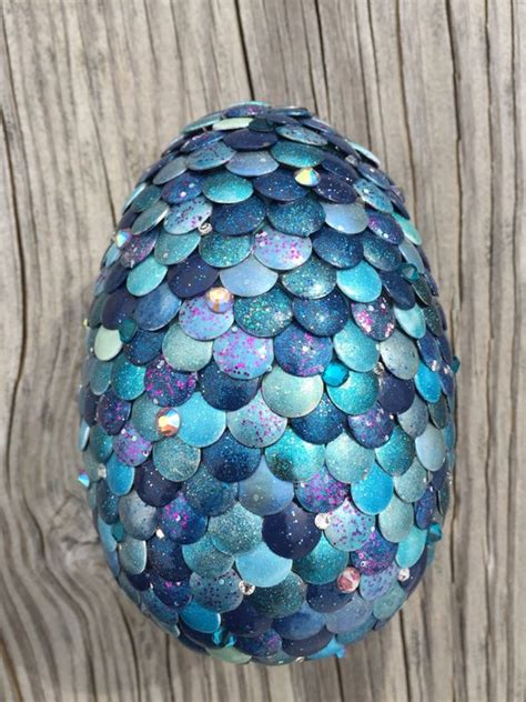 Large Blue Jeweled Dragon Egg 5 inches