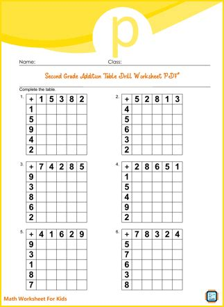 Addition Table Drill For Second Grade PDF Printable