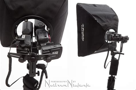 Softboxes with speedlights for on-location lighting